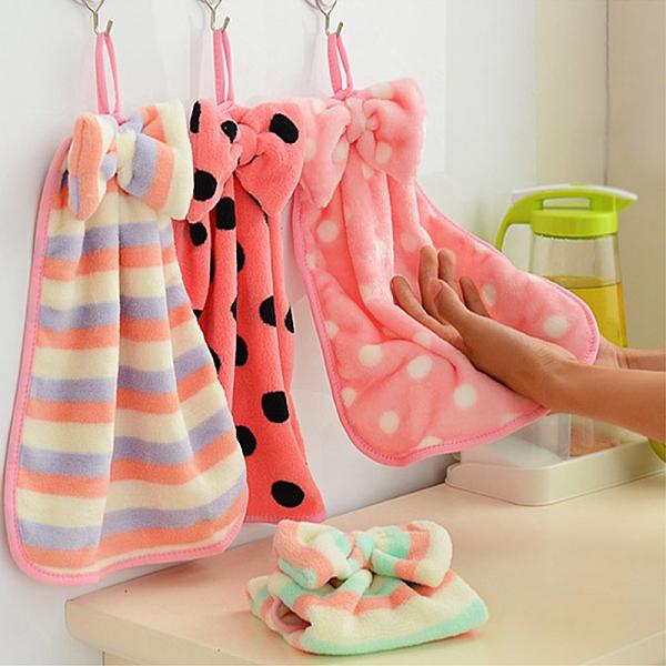 泰博思 珊瑚絨蝴蝶結掛式擦手巾 廚房 毛巾 洗碗巾 抹布 洗碗布【F0306】