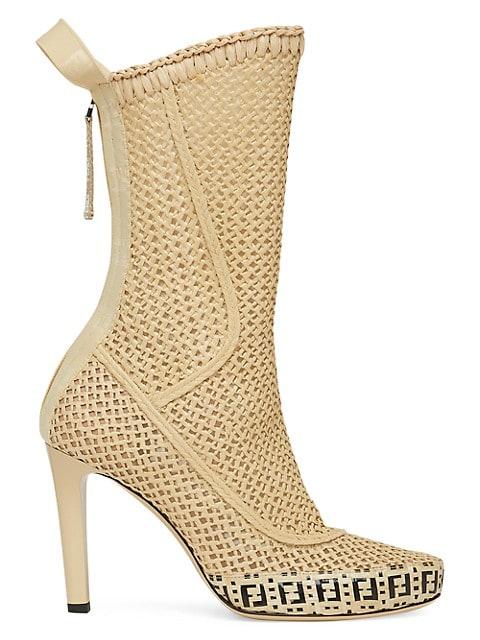 Woven Raffia Mid-Calf Boots