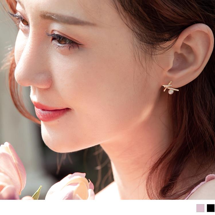 簡約韓系交叉珍珠耳環