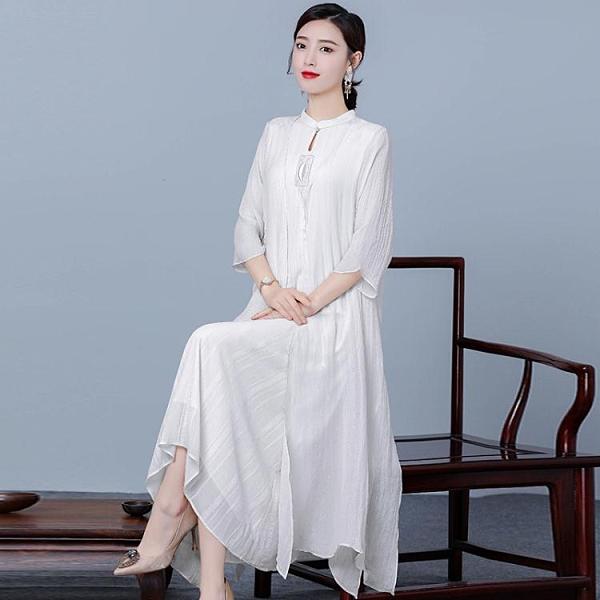 漢元素中國風兩件套裝唐裝日常復古大碼改良旗袍茶服民族風女裝夏 韓國時尚週