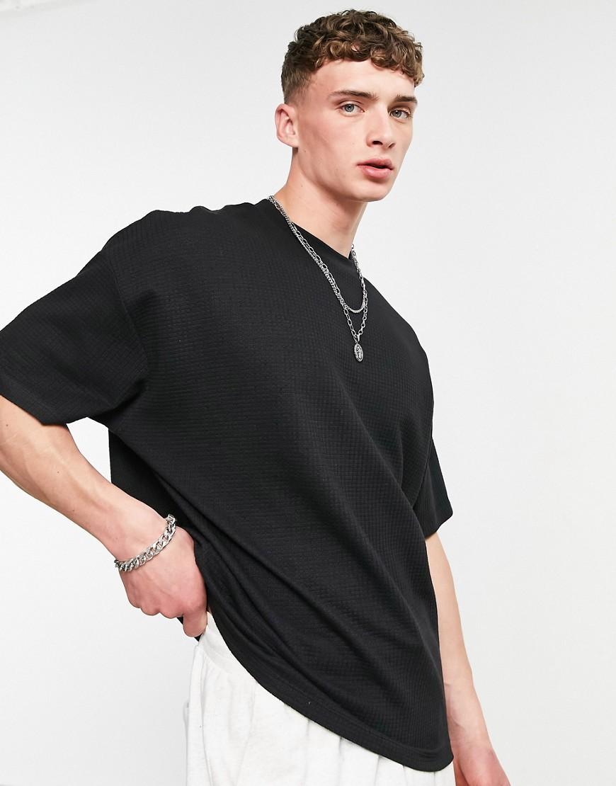 ASOS DESIGN oversized lightweight waffle t-shirt in black