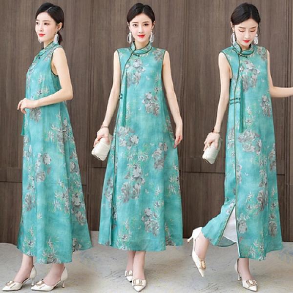L-4XL大碼洋裝~季女裝復古中國風苧麻印花無袖立領背心連身裙NE53-A胖妹大碼女裝