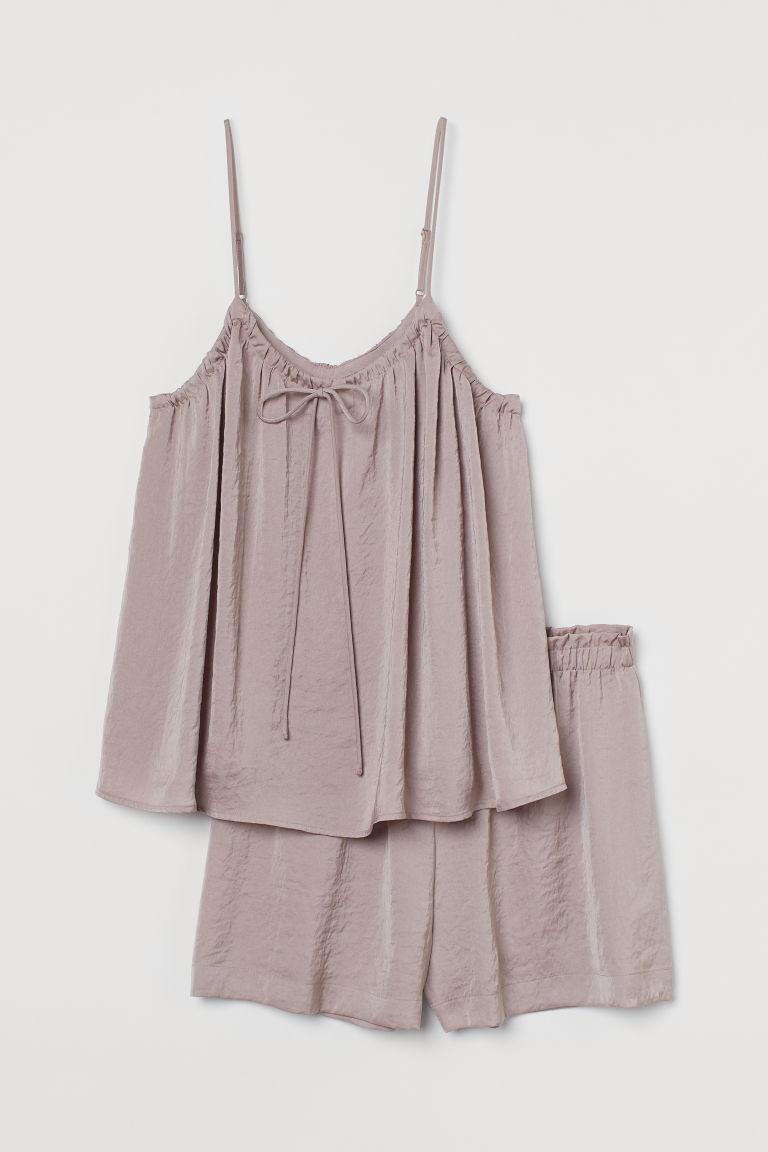 H & M - 綢緞睡衣套裝 - 粉紅色