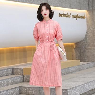 文藝橘粉襯衫格紋連身裙S-XL-Dorri