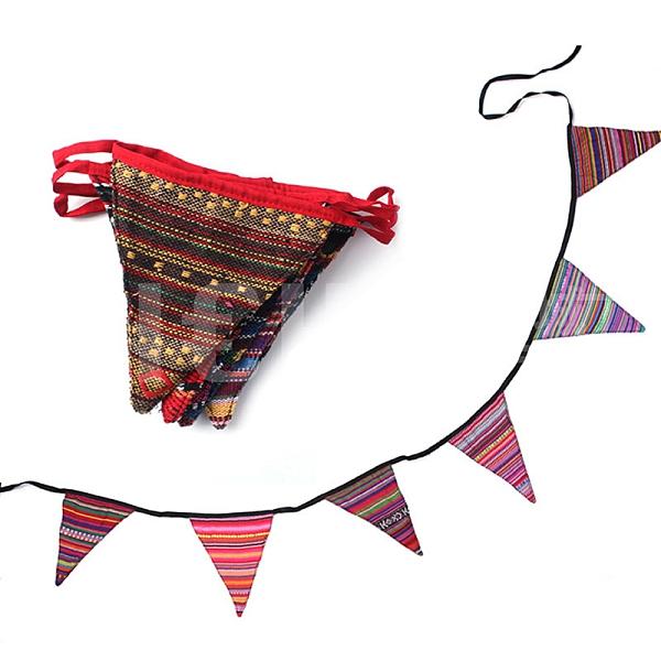【Selpa】出口韓國戶外6片三角串旗刀野營露營裝飾帳篷掛繩民族風三角旗