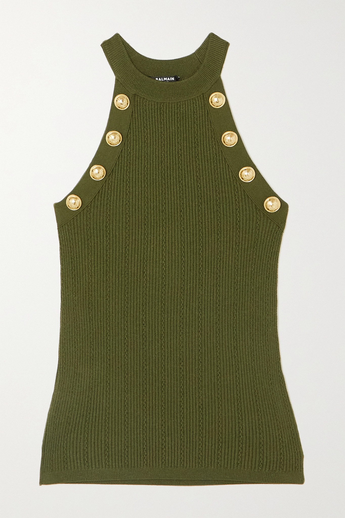 BALMAIN - Button-embellished Ribbed-knit Tank - Green - FR38