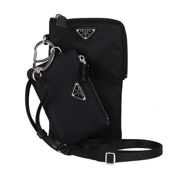 PRADA 經典尼龍三角LOGO 胸掛手機零錢包(黑色)