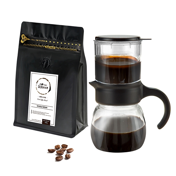 CoFeel 凱飛鮮烘豆半磅咖啡豆特惠組+台灣製玻璃咖啡悶蒸沖泡壺400cc(SO0107)