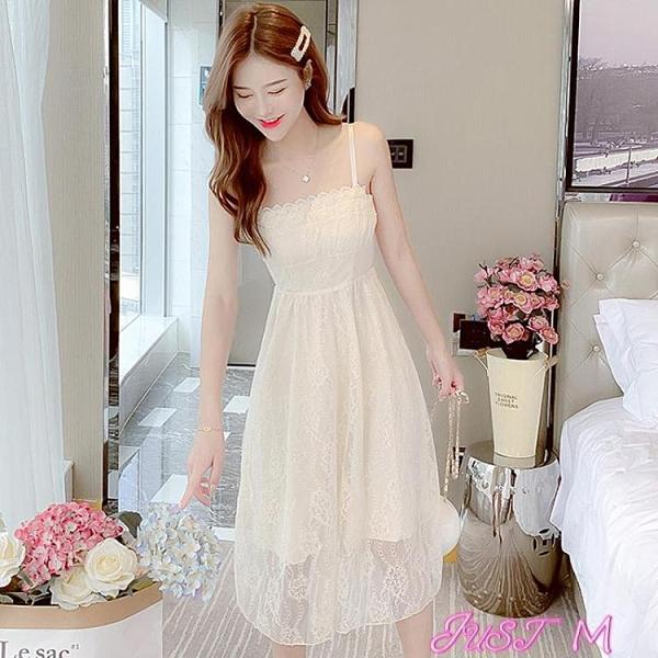 吊帶洋裝夏季一字肩吊帶連身裙女性感夏裝2021年新款長款小個子仙女長裙子 JUST M