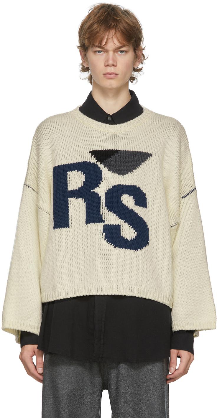"Raf Simons 灰白色""RS""大廓形初剪羊毛圆领毛衣"