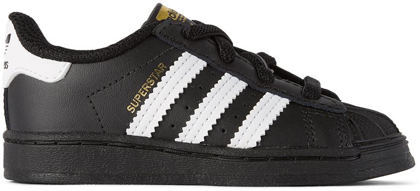 adidas Kids 黑色 Superstar 婴儿运动鞋