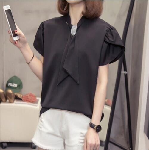 襯衣上衣寬鬆短袖中大尺碼XL-4XL大碼寬鬆雪紡衫氣質短袖襯衫5F026-2267.