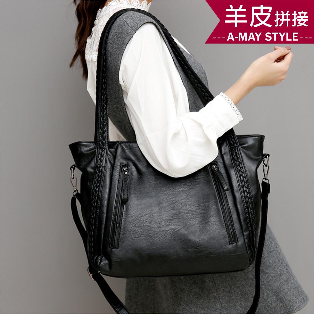 大容量真皮包包-羊皮拼接編織輕量手提肩背包【XDC080139】*艾美時尚(現+預)