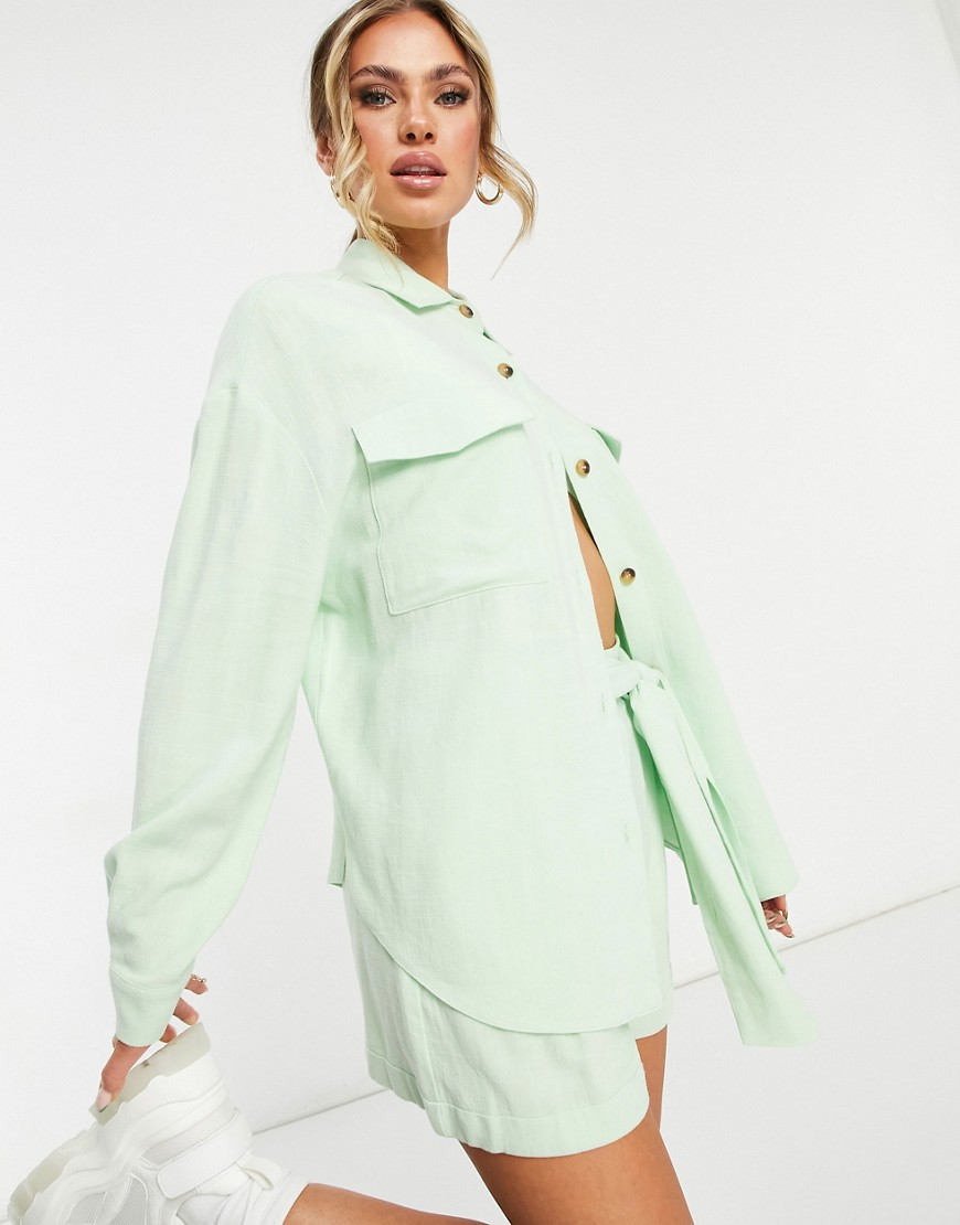 ASOS DESIGN linen suit shacket in apple-Green