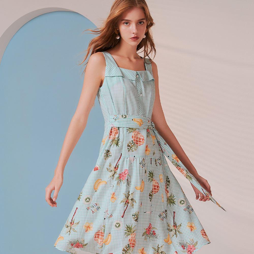 OUWEY歐薇 夏日感格紋印花方領無袖洋裝(淺藍)3212077416