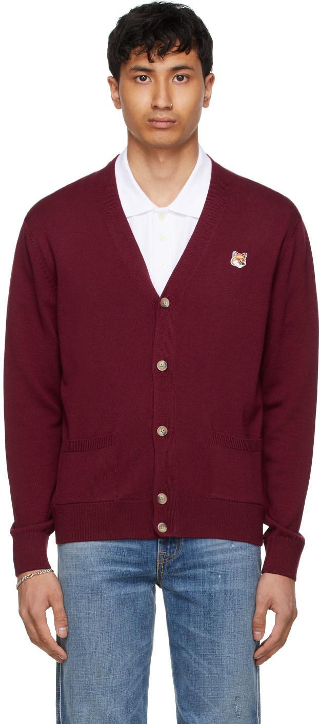 Maison Kitsuné 红色 Fox Head Patch Classic 羊毛开衫