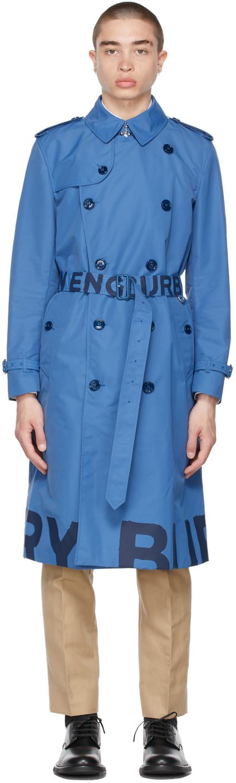Burberry 蓝色 Lightweight 徽标风衣