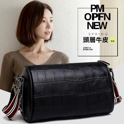 I FUN 現+預 韓版真皮壓紋枕頭包(單肩包/斜跨包)