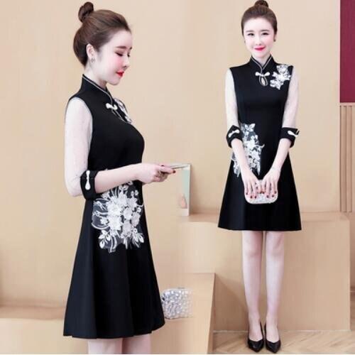 洋裝裙子拼接中大尺碼L-5XL新款改良版刺繡旗袍修身顯瘦氣質連身裙2F086-9987.