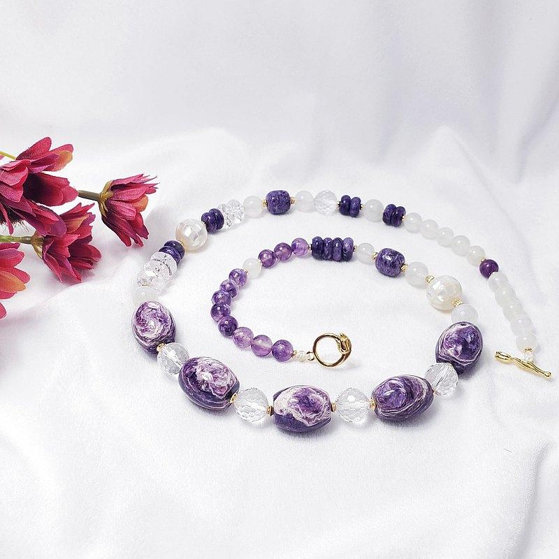 天然 紫龍晶 玫瑰紋 藍月光 白水晶 珍珠母貝 智慧富貴 項鍊 單品