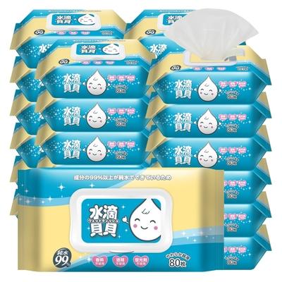水滴貝貝 超厚型純水柔濕巾附蓋24包(80抽x8包x3箱)