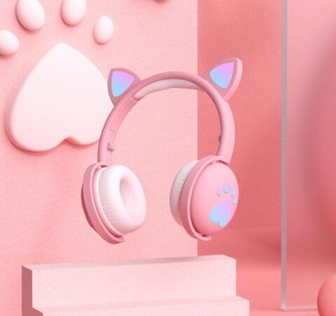 粉色發光貓耳耳機頭戴式藍芽無線韓版可愛貓咪貓耳朵女生款【免運】