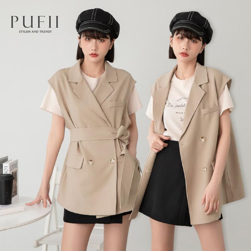 ◆PUFII-外套 翻領西裝背心外套(附綁帶)- 0422 現+預 春【CP20250】