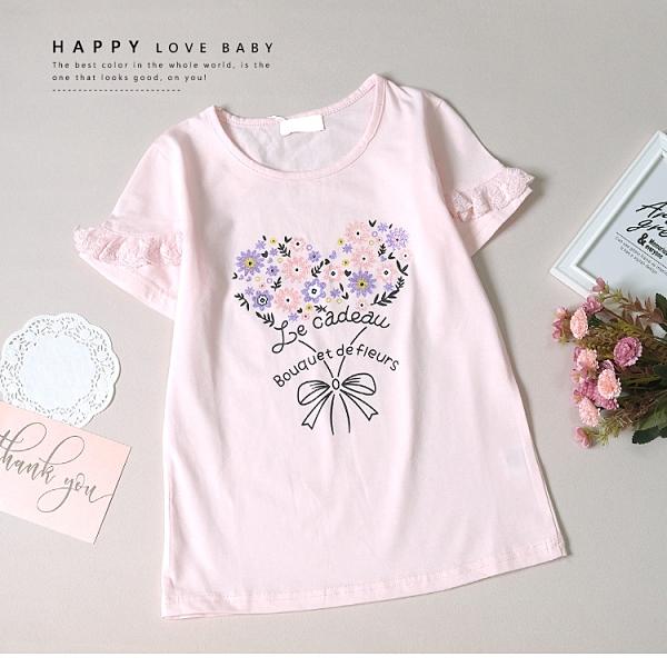大童 浪漫手繪花花蕾絲袖短T 春夏童裝 女童棉T 女童上衣 女童短袖 女童T恤