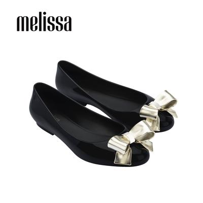 Melissa DOLL金屬光澤立體蝴蝶結娃娃鞋-黑
