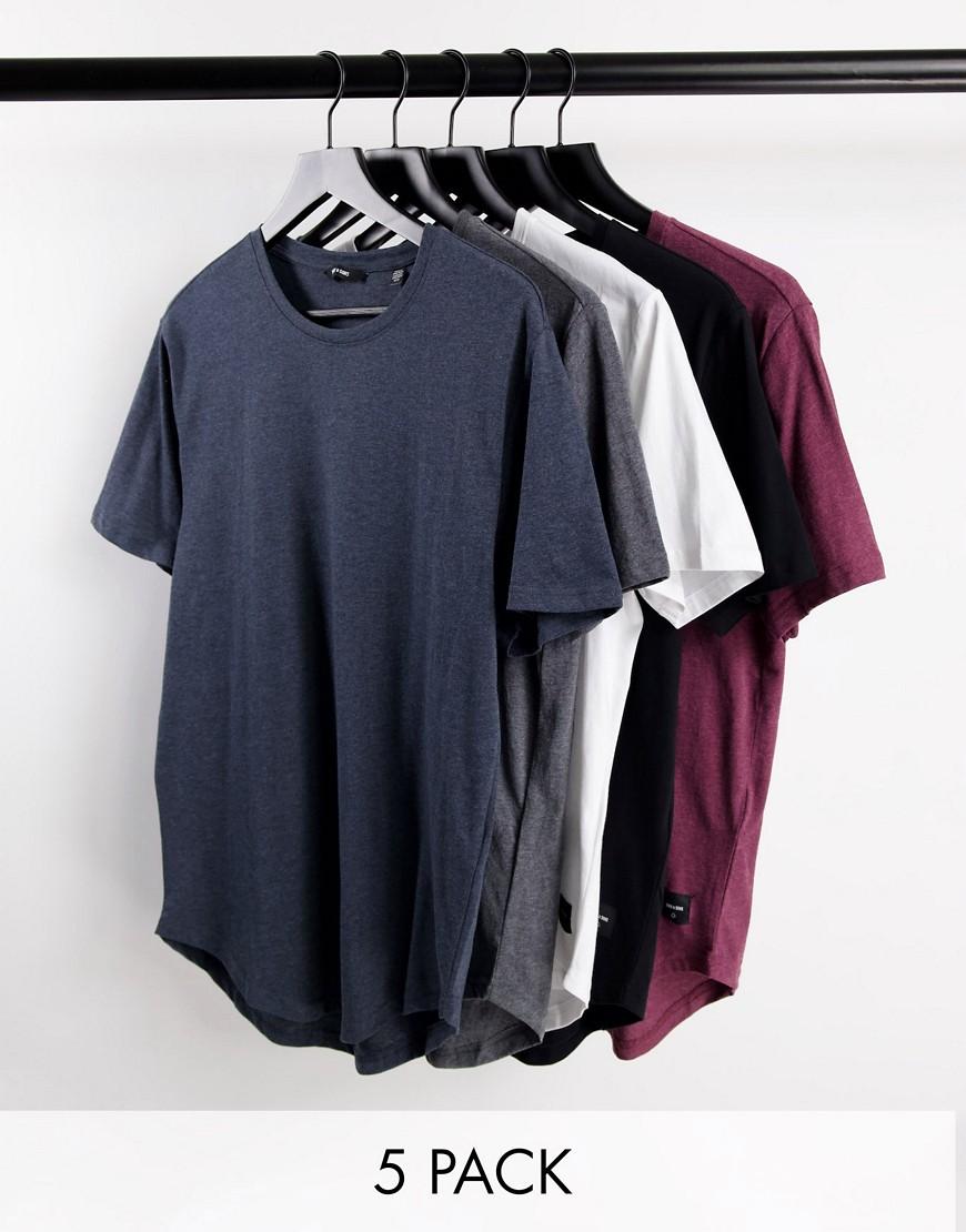 Only & Sons 5 pack longline curve hem t-shirts-Multi