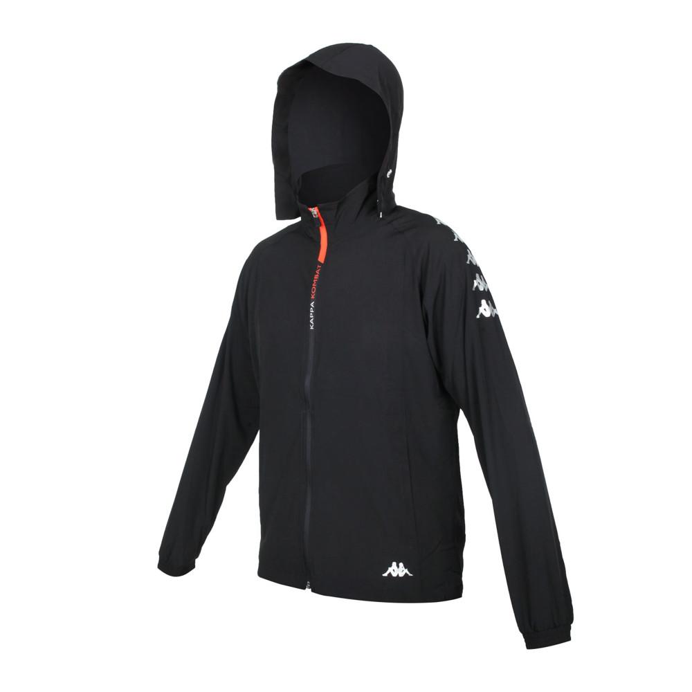 kappa 男k4t單層風衣-防風 連帽外套 慢跑 路跑 上衣 運動 黑白橘