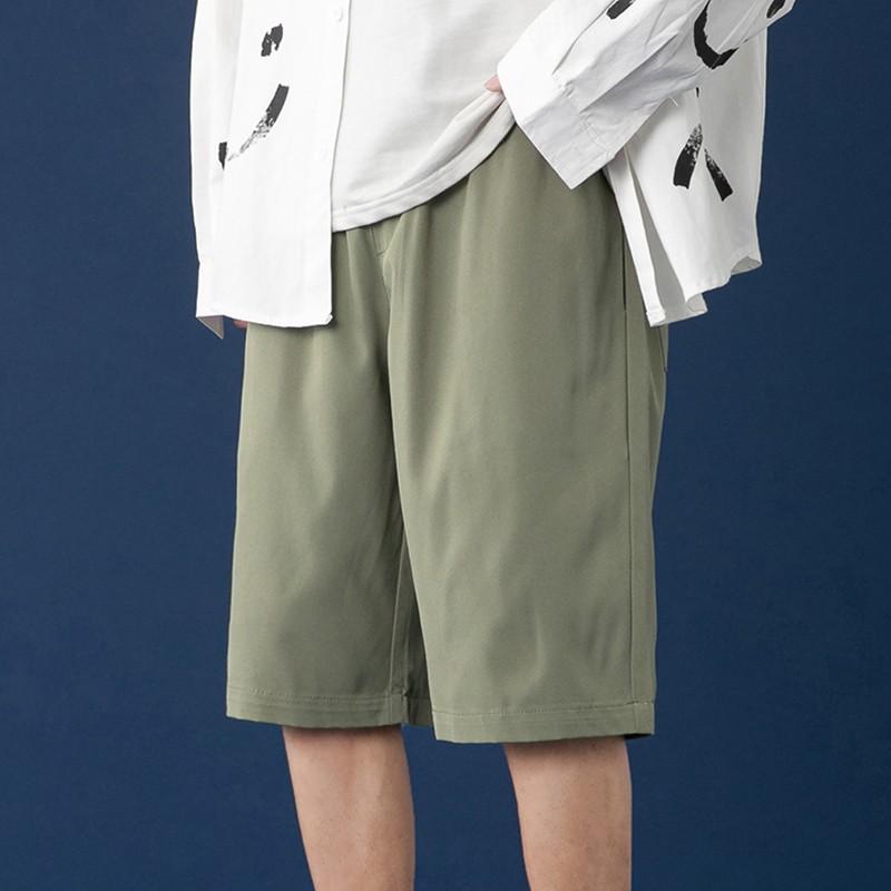 M-5XL夏季港風舒適冰絲休閒短褲 韓版學院風純色直筒五分褲 百搭學生大尺碼運動短褲 鬆緊腰海灘褲 正韓褲子 男生衣著
