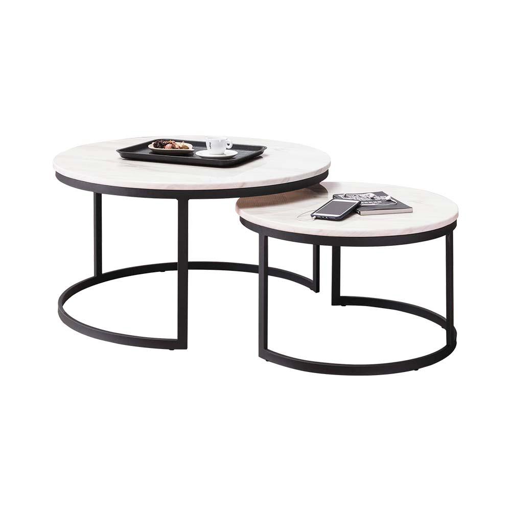 Boden-卡爾頓4.7尺伸縮圓形白色石面茶几組合(2.7尺大茶几+2尺小茶几)
