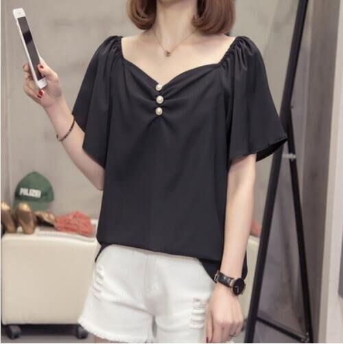 襯衣上衣寬鬆簡約中大尺碼XL-4XL大碼女裝寬鬆洋氣遮肚雪紡衫襯衫5F026-2274.