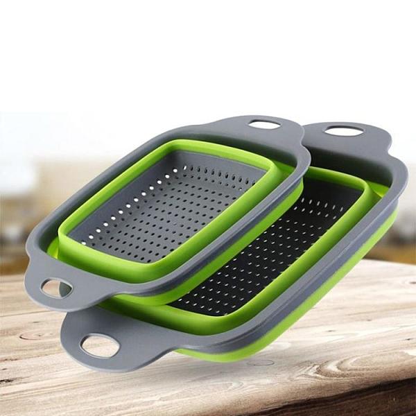 瀝水盆 水果盤果籃洗菜盆創意可折疊果盤硅膠折疊瀝水籃家用廚房洗菜籃 風尚