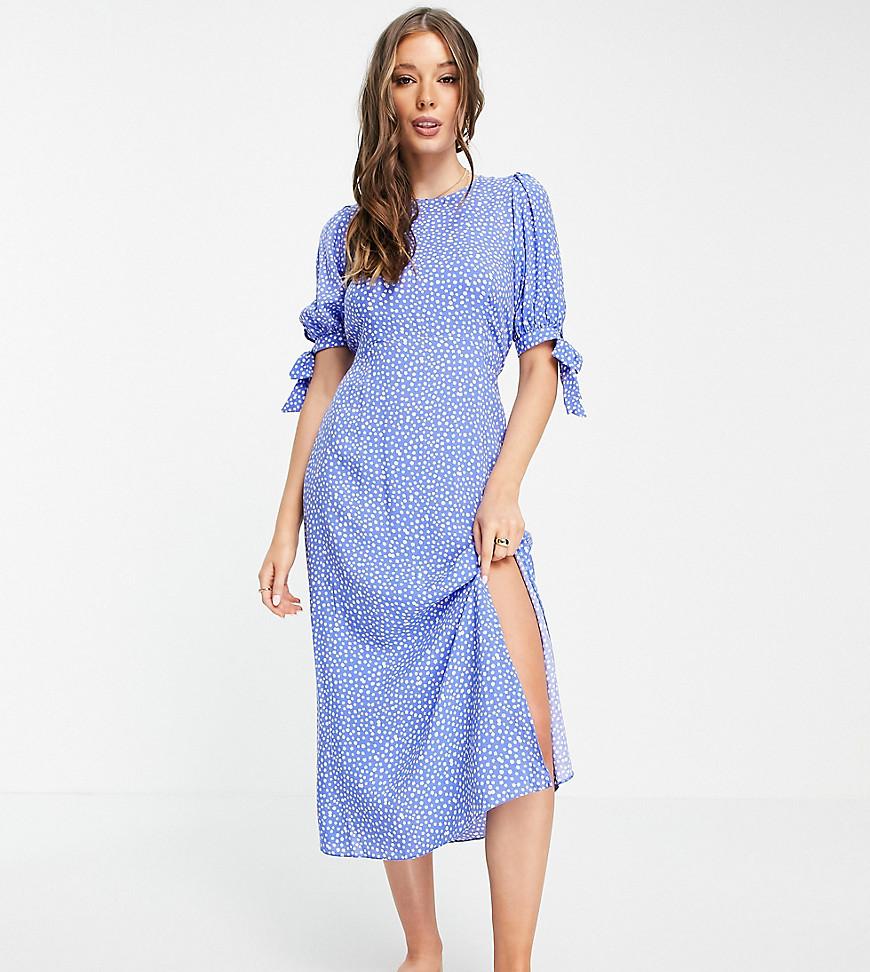Nobody's Child high neck midi tea dress in blue daisy spot