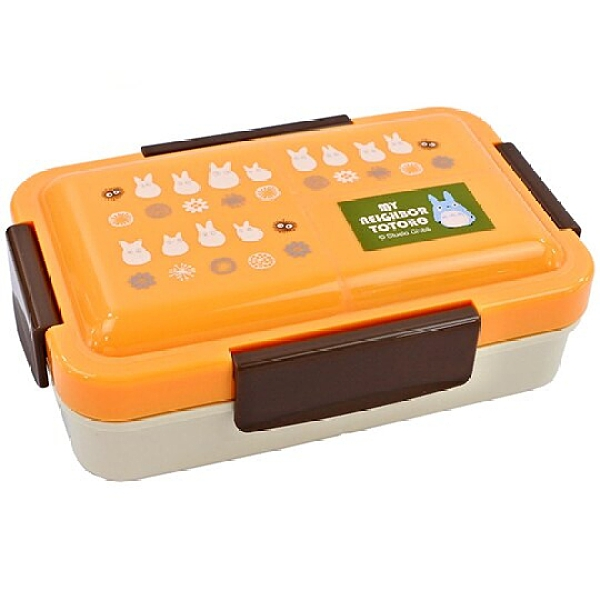 小禮堂 龍貓 日製 方形微波便當盒 抗菌便當盒 四扣便當盒 保鮮盒 550ml Ag+ (橘 藍龍貓) 4973307-52553