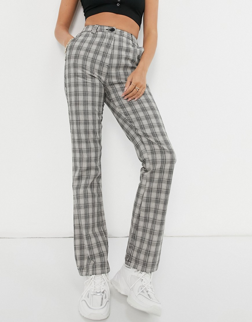 ASOS DESIGN flare in camel and black check-Brown