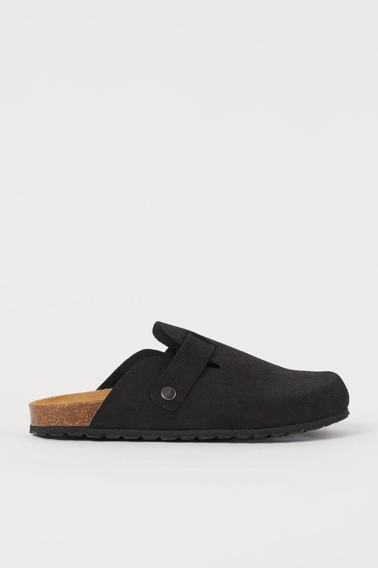 H & M - 麂皮懶人拖鞋 - 黑色