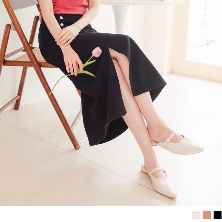 高含棉率性斜排釦前開衩斜紋長裙