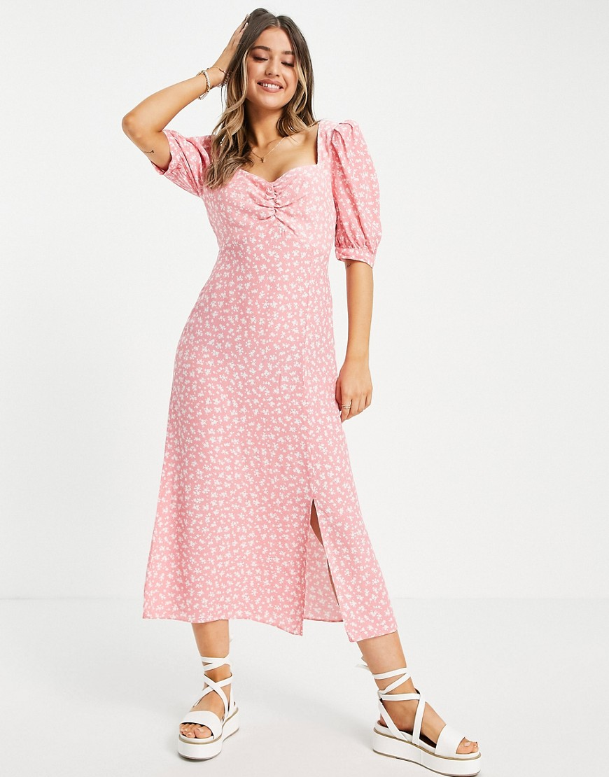 Nobody's Child midi tea dress in pink ditsy floral