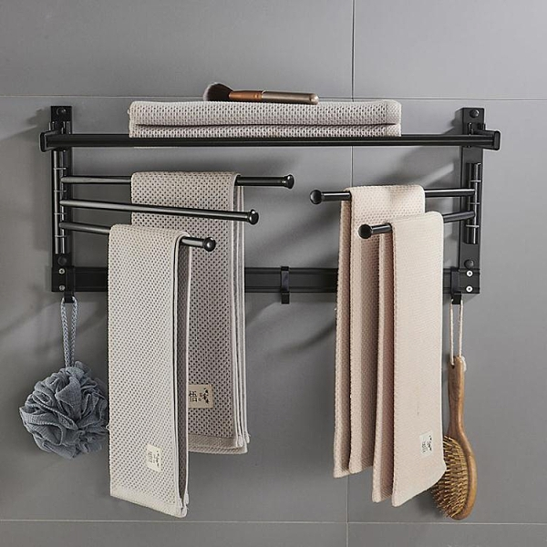 浴室置物架 多功能折疊浴巾架 壁掛免打孔旋轉毛巾架 浴室墻上五桿毛巾桿