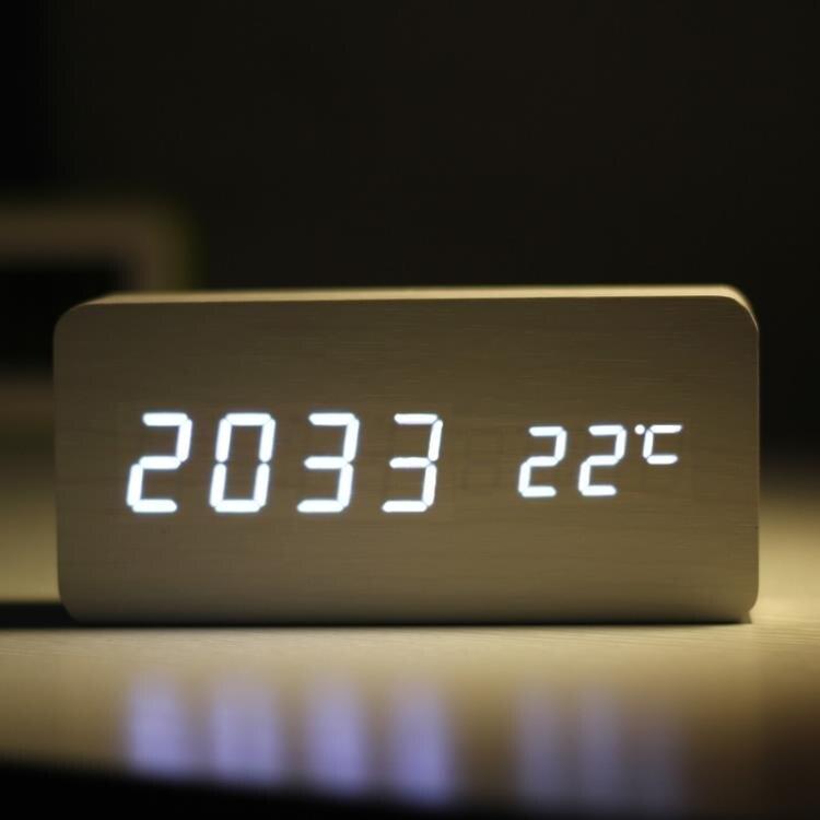 復古木質鬧鐘LED靜音電子鐘創意時尚床頭鐘客廳座鐘擺件夜光時鐘
