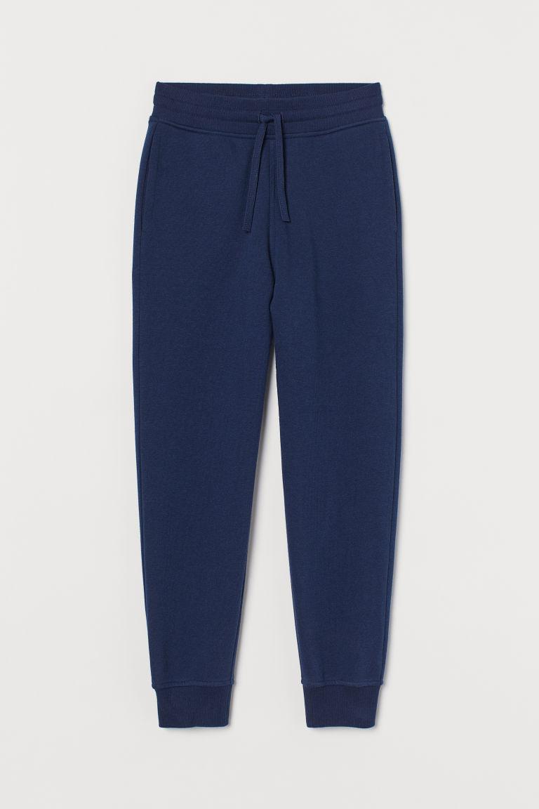 H & M - 刷毛內裡慢跑褲 - 藍色