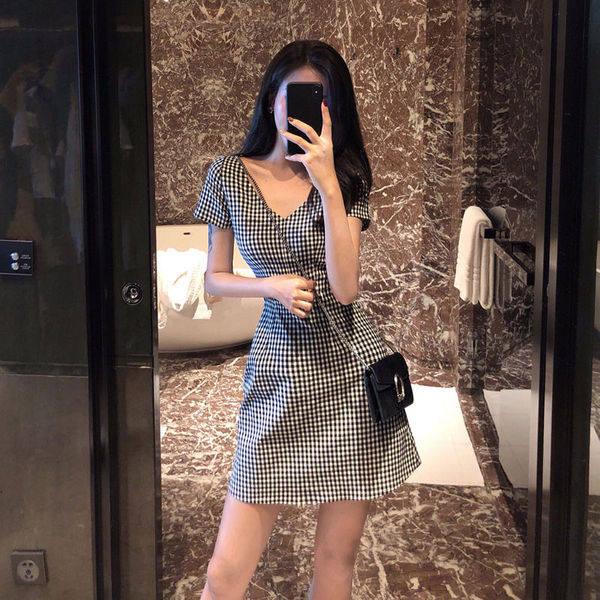9th street 個性小格紋縮腰顯瘦洋裝(預購)
