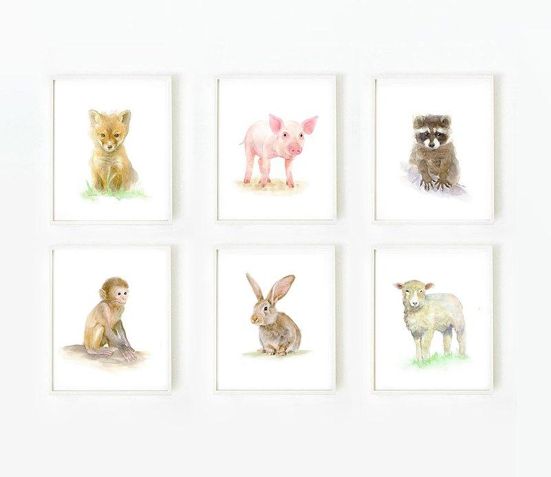 兒童房佈置-復制畫6件組-北歐-空間掛畫-動物水彩畫套組
