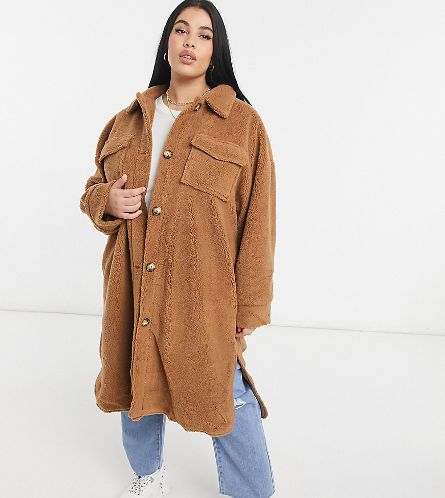 In The Style Plus x Naomi Genes teddy longline coat in camel-Brown