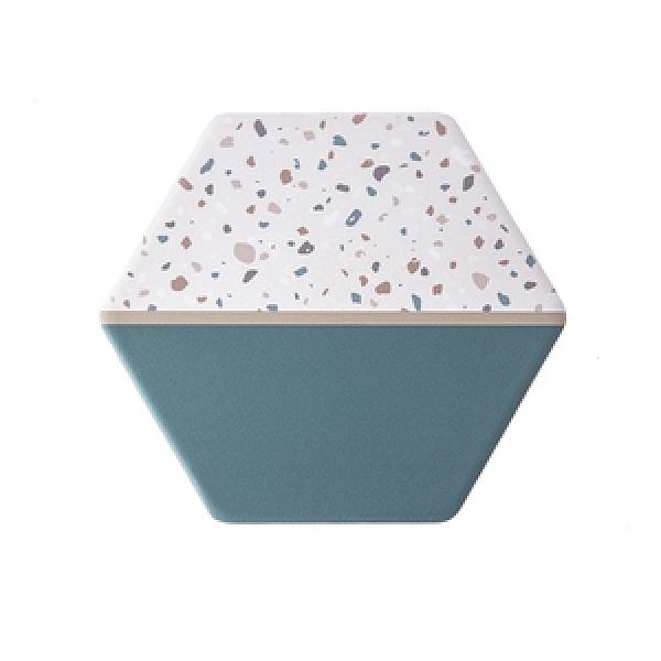 六角造型陶瓷鍋墊17cm 綠