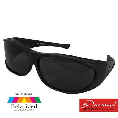 【Docomo】寬版設計 排霧散熱孔 頂級Polarized寶麗來偏光太陽眼鏡 強化技術 有無近視皆可配戴 質感黑