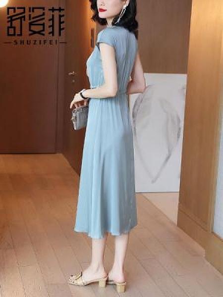 緞面真絲連身裙女夏季新款方領短袖襯衫裙修身中長款大擺裙子H456-C胖妞衣櫥